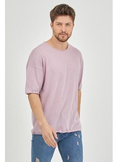 XHAN Ekru Pis Yaka Salaş T-Shirt  Mor